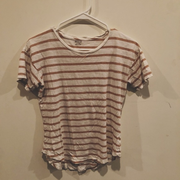 Madewell Tops - Madewell beige and white striped t-shirt